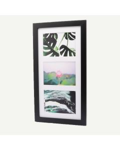 """9x18 Black Wood 1"""" Frame for 5x7 Picture and White Mat"""
