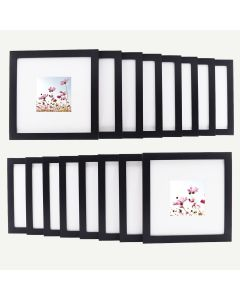 "8x8 Black Wood 3/4"" Frame for 4x4 Picture and White Mat, Set of 16"