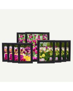 "Gallery Wall Set of 10 Black Wood 3/4"" Frames"