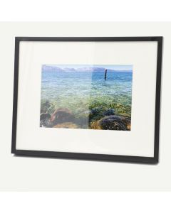 """8x10 Black Aluminum 7/8"""" Frame for 5x7 Picture and Ivory Mat"""