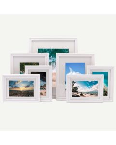 "Gallery Wall Set of 7 White Wood 3/4"" Frames and White Mat"