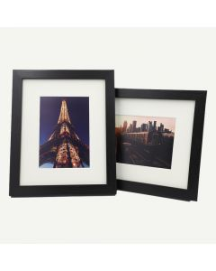 "8x10 Black Wood 3/4"" Frame for 5x7 Picture, Set of 2 and Ivory Mat"