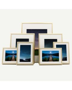 "Gallery Wall Set of 7 Gold Aluminum 1/4"" Frames and Ivory Mat"