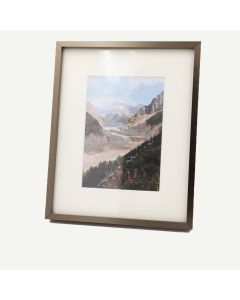 "8x10 Brown Aluminum 1/4"" Frame for 5x7 Picture and Ivory Mat"