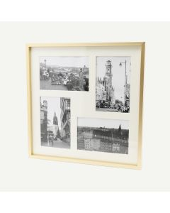 """12x12 Gold Aluminum 3/8"""" Frame for 4x6 Picture and Ivory Mat"""